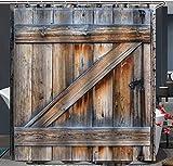 AZZXZONa Polyester 100% Tissu Rideau De Salle De Bains Nouvelle Lettre Porte en Bois...