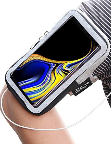 iMangoo Touch Screen Gym Sport Workout 5,5 Zoll Fitness Armband mit Schlüsselhalter Kabelrinne kompatibel mit Samsung Galaxy Note 9 oder Anderen 5,5 Zoll Handy Schwarz