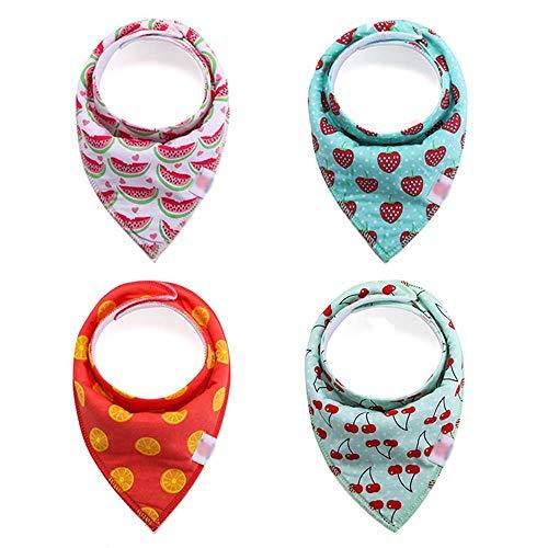Second Sunny Baby Bandana Dribble Lätzchen, 4er Pack Drools Lätzchen für Jungen und Mädchen, Superweiches hautfreundliches Absorptionsmittel mit 2 verstellbaren Druckknöpfen,Style5 (über Baby-lätzchen Ziehen)