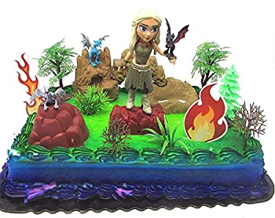 Game of Thrones Deluxe Birthday Cake Topper Set Featuring Figure and Decorative Themed Accessories