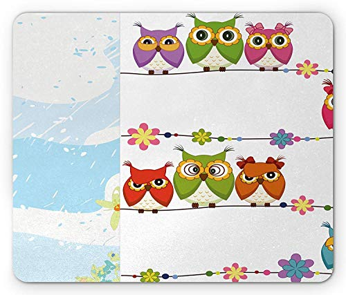 Drempad Gaming Mauspads, Kids Mouse Pad, Cute Angry Amusing Owls Birds Eyes Sitting on a String of Flowers Branch Animal Print, Standard Size Rectangle Non-Slip Rubber Mousepad, Multicolor (Angry Bird Rosa)