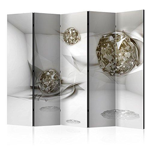 murando Raumteiler 3D Optik Foto Paravent 225x172 cm beidseitig auf Vlies-Leinwand Bedruckt Trennwand Spanische Wand Sichtschutz Raumtrenner grau Gold a-A-0131-z-c