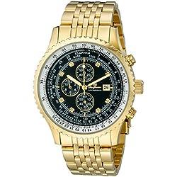 Burgmeister Burgmeister - Reloj de caballero de cuarzo, correa de acero inoxidable color oro (con cronómetro)