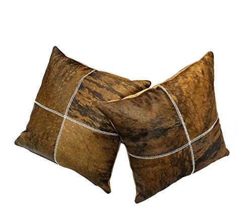 Zerimar Pack 2 Leder Kissen Maßnahmen: 40 x 40 cms Ideal für Dekoration (Maßnahme Leder)