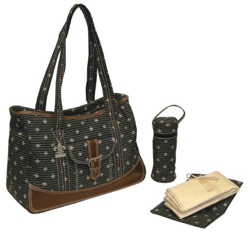 Kalencom Fashion Wickeltasche, Mama Tasche, Canvas-Tasche, Weekender (Fleur de Lis Schwarz) (Handtasche Zippered Tote)
