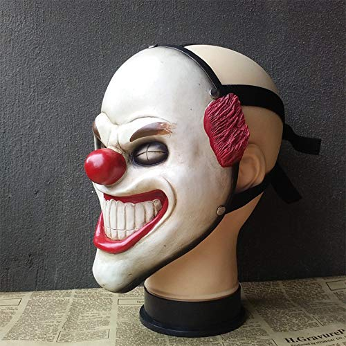 Zhanghaidong Halloween IT Killer Clown Maske Red Ballon Kostüm Outfit Zirkus Red Nase Clown Maske Cosplay Spiel Ernte Tag Halloween Horror Film Requisiten Schreck