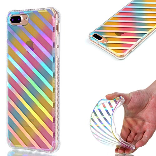 Apple iPhone 8 Plus 5.5 Hülle, Voguecase Schutzhülle / Case / Cover / Hülle / Plating TPU Gel Skin (Datura) + Gratis Universal Eingabestift Schräge Streifen