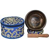 Tazón tibetano de canto de meditación con grabado local y caso étnico. Ideal para Mindfulness-BUD EYE-2 (B10)