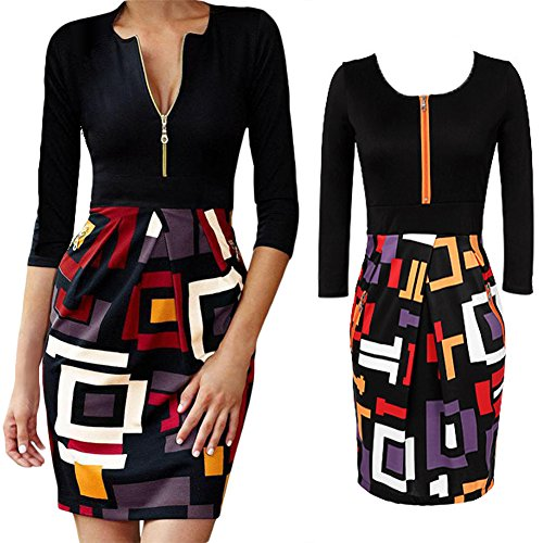 ... D9Q Frauen nehmen Geschäfts formale Geometrie Cocktail Party Bodycon  Pencil Minikleid !! multicolor ...
