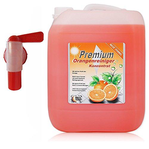10 Liter Premium Orangenreiniger Konzentrat im Kanister mit Auslaufhahn, Orangenreiniger entfernt sogar hartnäckigste Verschmutzungen.
