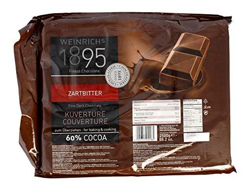 Weinrichs - Zartbitter Kuvertüre 60{3ec79baa3388a38406e72037826766b739fc07d84a132111052bf9ea8adff14b} Cocoa Schokolade - 2,5kg