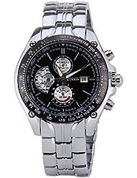 Reloj para hombre - CURREN reloj de deporte de cuarzo impermeable con esfera negra y fecha para hombres (plata)