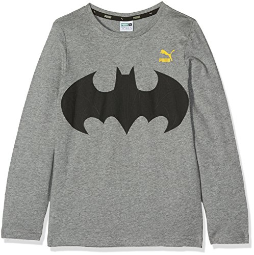 Ls Tee T-shirt (PUMA Kinder Justice League LS Tee T-Shirt, Medium Gray Heather, 128)