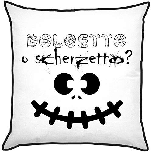 (My Custom Style Kissen Polyester Pre-verpackt #Halloween_A# Solo FEDERA 60x60cm Halloween-dolcetto Scherzetto_Nero)