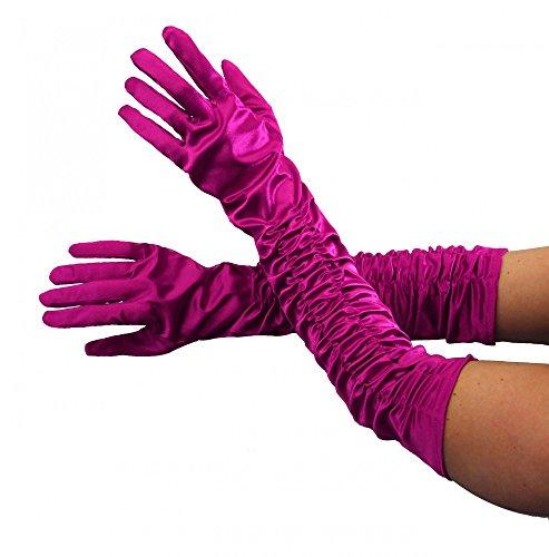 Foxxeo 35252 | Deluxe Handschuhe lang pink glänzend lange Hand schuh (Burlesque Film Express Kostüme)
