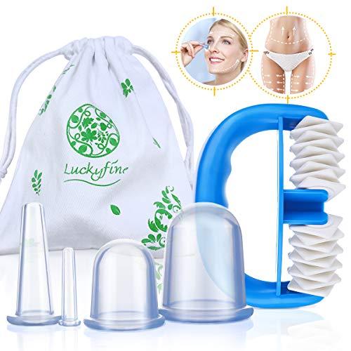 Silikon Massagegerät, Luckyfine Schröpfen Therapie Massage Cups mit einer Massage-Rolle für Anti Aging und Cellulite Gesicht & Körper Set