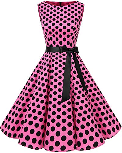 bbonlinedress 50s Retro Schwingen Vintage Rockabilly Kleid Faltenrock Pink Black Big Dot 2XL