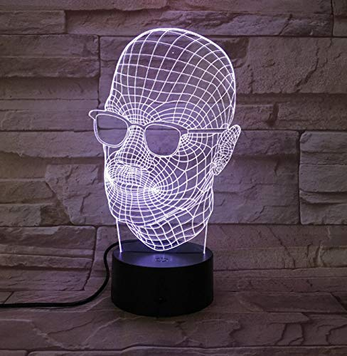 Novedad de cristal cráneo 3D LED luz lámpara de mesa de escritorio decoración de Halloween regalo Kid Holiday USB 7 colores cambiar la lámpara de lava regalo de los niños