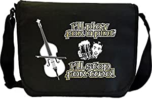 Double Bass Play For A Pint - Sheet Music Document Bag Musik Notentasche MusicaliTee