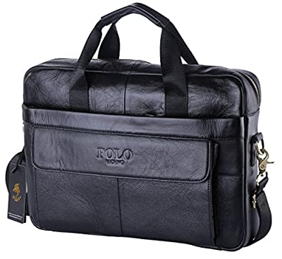 "VIDENG POLO Cuir véritable Porte documents pour ordinateur portable 15 "" Sac à main fait à l'épaule Messenger Business De Italie Design"