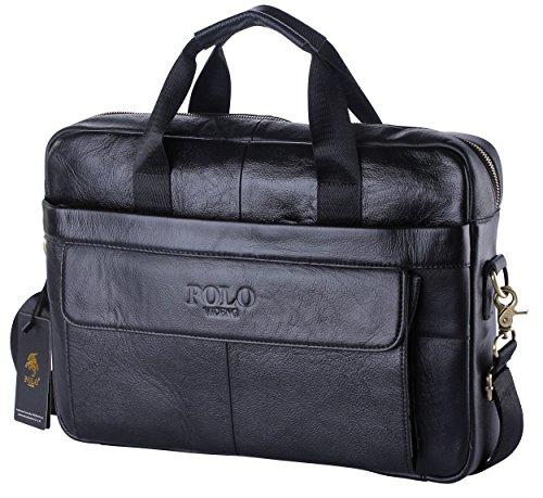VIDENG POLO Top Leather Handmade Briefcase Shoulder Messenger Business Bag  ... b725d4bb42939
