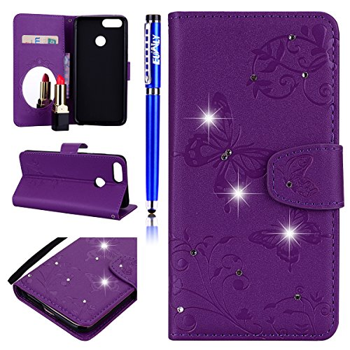 EUWLY Kompatibel mit Huawei Honor 7X Handyhülle Bling Glitzer Strass 3D Schmetterling Blumen Bookstyle Schutzhülle Brieftasche Wallet Flip Case Cover Leder Tasche Klapphülle,Lila