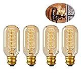 LEDMOMO Ampoule Edison Vintage, Ampoule E27 40W Edison avec Écureuil Cage Filament Teardrop Conception Dimmable Antique Ampoule (Pack de 4)