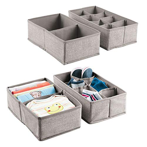 mDesign Juego de 4 cajas de tela para accesorios de bebé –...