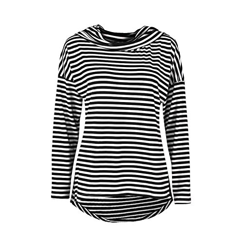ZARU Mujer Stripe Camiseta de manga larga con capucha Top Blusa (XL, NEGRO)