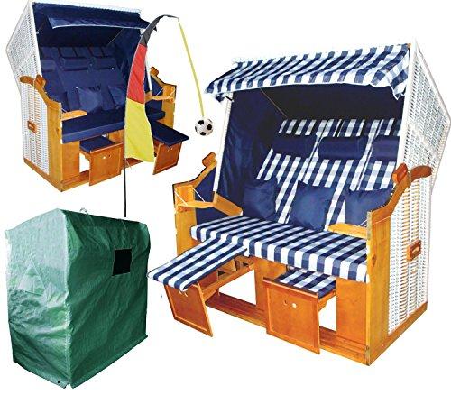 das wohnwerk Zweisitzer Strandkorb Nordsee de Luxe - Exklusiv für Amazon im Komplettset - mit Schutzhülle + 4 Kissen! 3