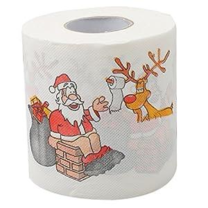 ODN Lustiges Rolle Toilettenpapier Weihnachten MOTIV Weihnachtsmann und Rentier