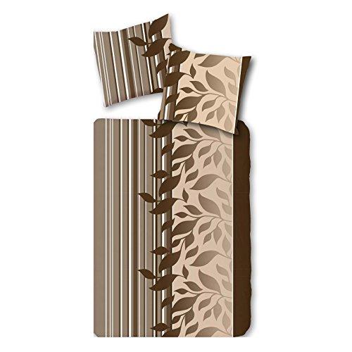 2 oder 4 tlg Set Luxus Microfaser Fleece Bettwäsche 135x200 cm Bettgarnitur Braun Beige, Set-Größe:4-teiliges Set