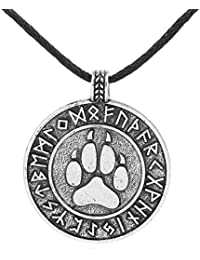 Skyrim Runic Bear Paw Print Amulet Pendant Necklace Nordic Viking Runes Alloy Talisman Jewelry