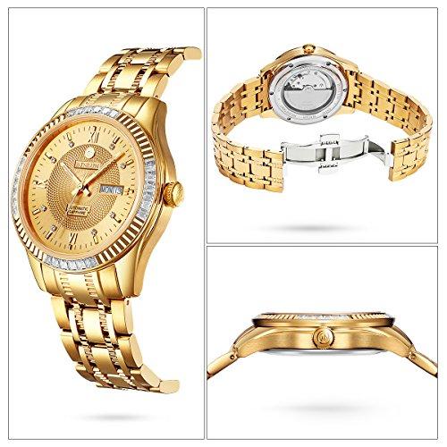 BINLUN Men's 18k Gold Plated Stainless Steel Waterproof Automatic Wrist Watch Luminous Hands Diamonds