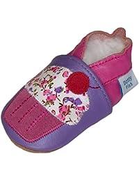 Dotty Fish - Chaussures cuir souple bébé et bambin - Filles - Fleurs