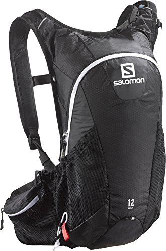 Salomon Leichter Trail-Running Rucksack 12 L, 45 x 22,5 x 13,5 cm, Agile 12 Set, Schwarz (Black/Iron/White), L37375100