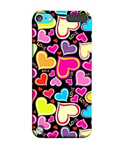 Fuson Designer Back Case Cover for Apple iPod Touch 5 :: Apple iPod 5 (5th Generation) (Love Heart Valentine Colourful Pink Yellow Blue Hearts)