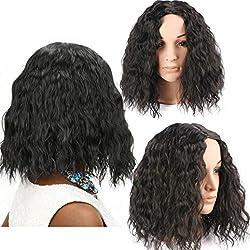 Alonea Fashion Womens Sexy Full Bangs Wig Short Wig Small Volume Wig (Black)