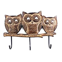 Christmas Gifts Mother Day Gift Owl Wooden Wall Hooks Rack Multi-utility Coat Key Hat Scarf Bags Towel Robe Hanger 3 Hooks Storage Organiser Home Decor