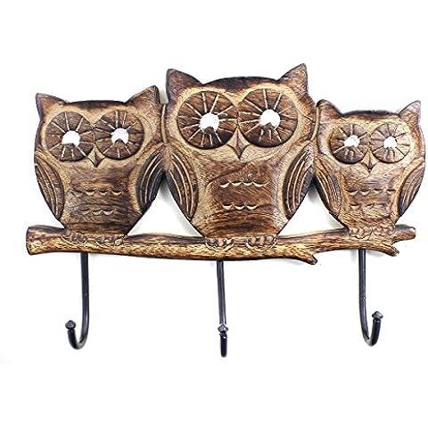 Navidad Regalos Soporte de pared de madera con 3 ganchos y búho adornos, accesorios decorativos Inicio