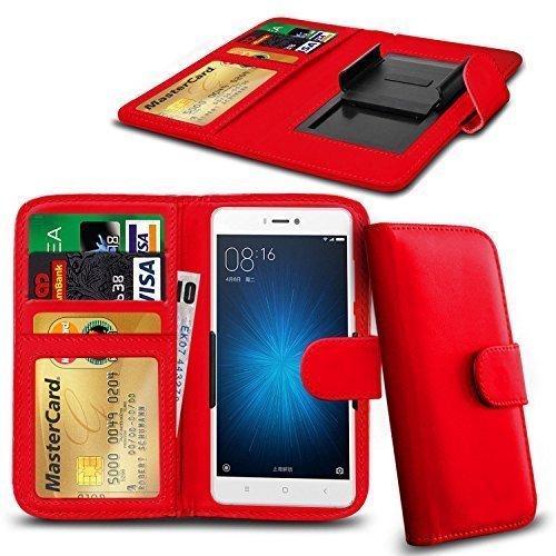 N4U ONLINE - Verschiedene Farben Clip Serie PU- Leder Brieftasche Buch Hülle für Oppo R1 R829T - Rot