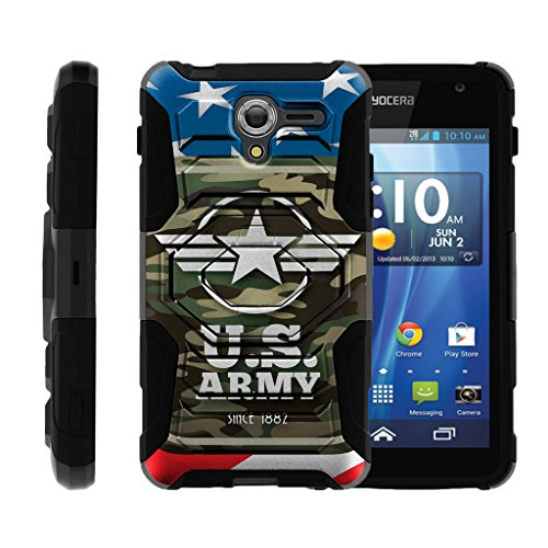 turtlearmor | Kyocera Hydro View Case | Hydro Erreichen Fall | Hydro Shore Case [Octo Guard] Armor Hybrid Shell Tough Ständer Rubber Holster Clip Krieg und Military Design -, Army Camo Flag