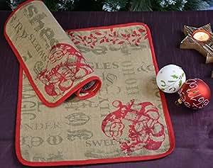Place Couverture Décoration de table Napperon Tapis jute Chemin de table Christmas Noël Père Noël Père Noël 35x 45cm beige/rouge
