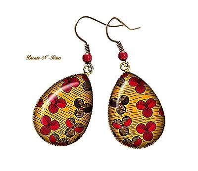 Boucles d'oreilles gouttes ° Fleurs° bronze cabochon africain tissu wax motifs Ethniques