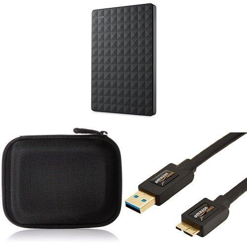 Set Seagate Expansion Portable, 500GB, externe Festplatte mit AmazonBasics Festplattentasche und AmazonBasics USB-3.0-Kabel (Expansion Usb 500 Gb)