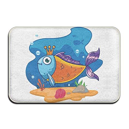 Klotr Fußabtreter, Home Door Mat Cartoon Fish Crown Doormat Door Mats Entrance Rugs Anti Slip 40x60 cm for Indoor Outdoor