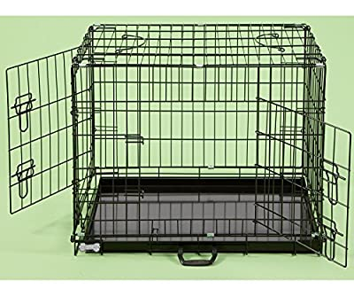 "42"" Dog Cages Puppy Crate Extra Large Black Cat Folding Metal Cage 42"" x 28"" x 31"" Vet Recovery **NEW IMPROVED LATCHES"