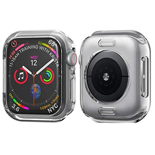 Schutzhülle kompatibel mit Apple Watch Serie 4, stoßfest, Silikon, stoßfest, TPU, Schutzhülle für Apple Watch Serie 4, 38 mm, farblos Portion Shell