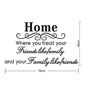 """Home"" Proverbes anglais design décor de mur sticler autocollant mural en vinyle"