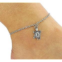 Hosaire Fußkettchen Mode Damen Fuß Schmuck Strand Schildkröte Anhänger Fußkette Ketten,21 cm